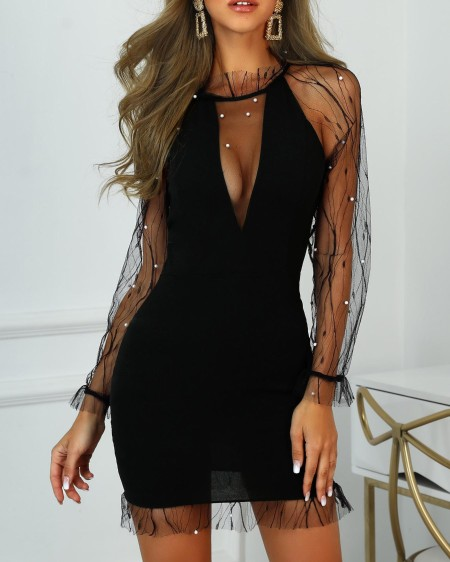 Sheer Mesh Beaded Detail Bodycon Dress