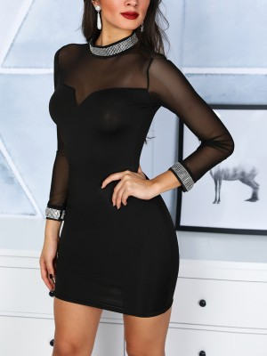 Hot Drilling Sheer Mesh Bodycon Dress