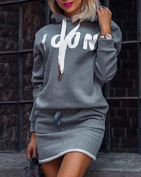 Letter Print Hooded Casual Dress