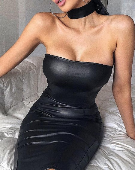 Tube Faux Leather Bodycon Dress
