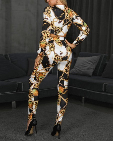 Scarf Print Long Sleeve Knotted Jumpsuit