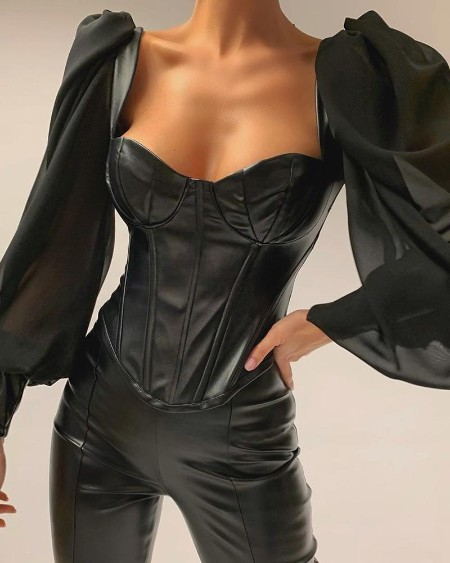 Leather Semi Sheer Patchwork Low Cut Blouse