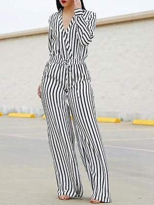Striped Wrap Waist Wide Leg Jumpsuit