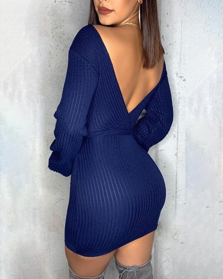 Plunge Knitting Bodycon Sweater Dress