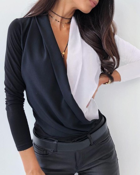 Colorblock V Neck Surplice Wrap Long Sleeve Blouse