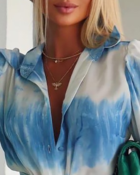 Tie Dye Print Button Design Casual Shirt