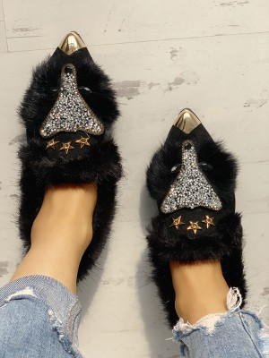 Fluffy Gem-Studded Pointed Toe Flat Shoes
