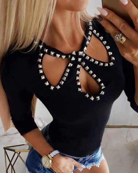 Long Sleeve Rivet Detail Cutout Blouse
