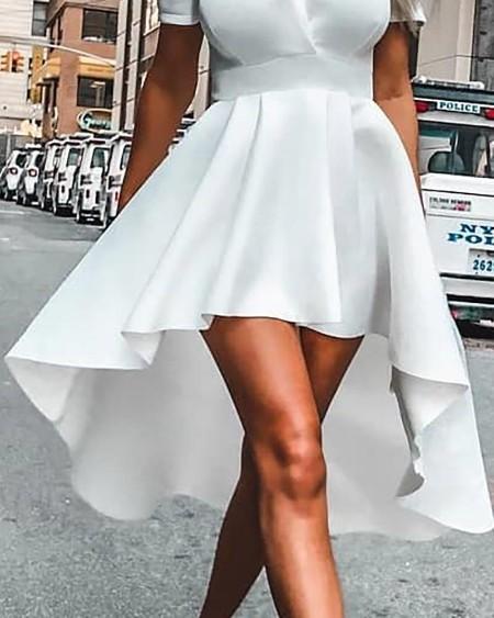 Puffed Sleeve Dip Hem Ruffles Dress