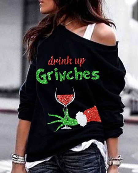 Christmas Sequins Letter Pattern Long Sleeve Sweatshirt
