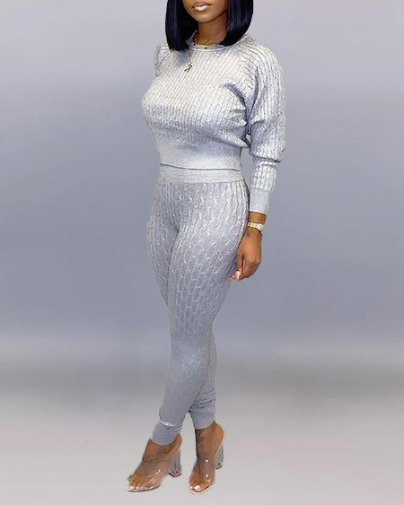 boutiquefeel / Solid Long Sleeve Top & Pencil Pant Sets