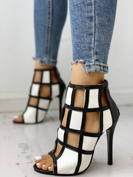 Contrast Color Peep Toe Caged High-heel Sandals