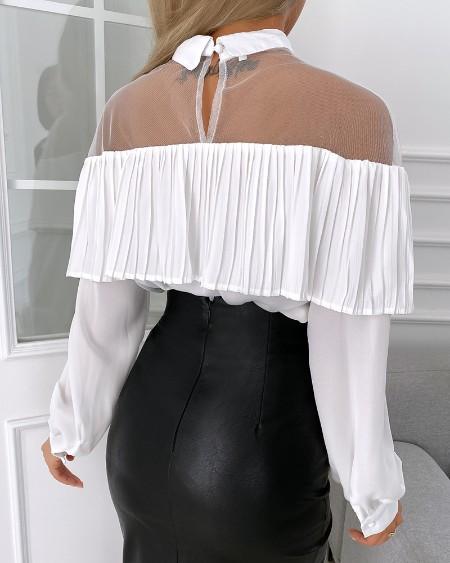 Ruffles Hem Sheer Mesh Long Sleeve Top