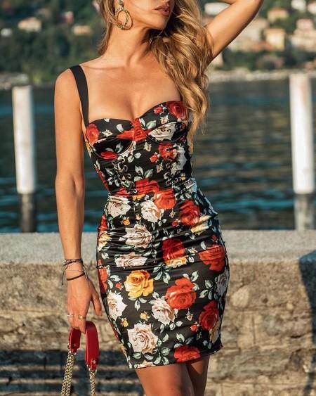 fdef9753f7d Rose Print Thin Strap Bodycon Dress ...