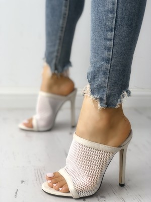 Solid Mesh Hollow Out Peep Toe Thin Heeled Sandals