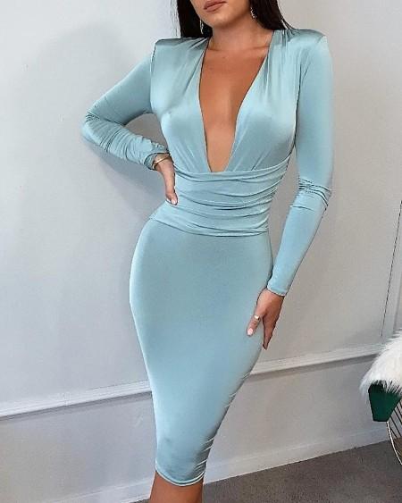 Deep V Padded Shoulder Ruched Bodycon Dress