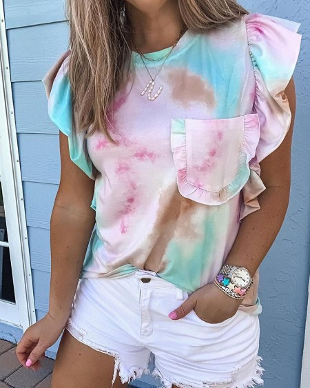 Tie Dye Print Ruffles Pocket Design Top
