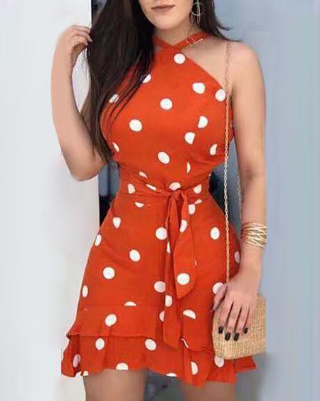 Polka Dots Print Tie Waist Ruffle Hem Dress