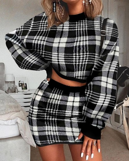 Grid Long Sleeve Crop Top & Mini Skirt Sets