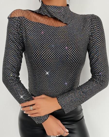 Studded Fishnet Mesh Long Sleeve Top