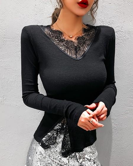 Eyelash Lace Pattern Long Sleeve Blouse