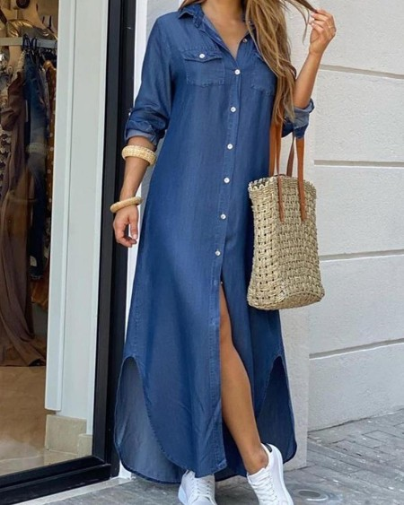 Denim Button Front Shirt Dress