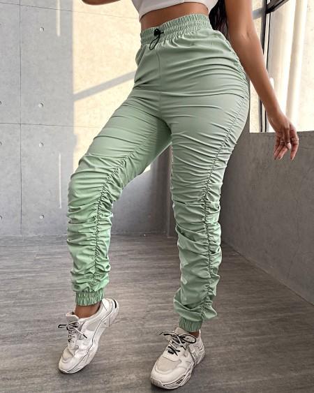 Plain Ruched High Waist SweatPants