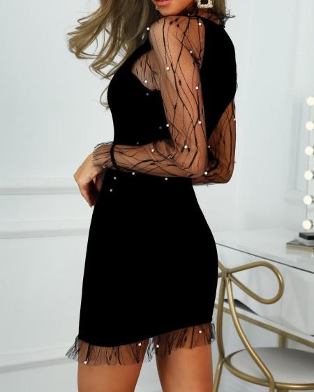 Sheer Mesh Beaded Detail Bodycon Dress