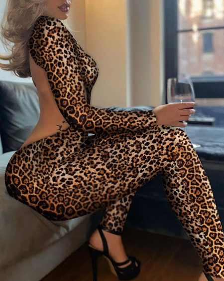 Cheetah Print Zipper Front Backless Jumpsuit