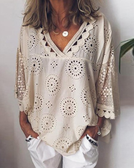 boutiquefeel / V Neck Broderie Anglaise Lace Blouse
