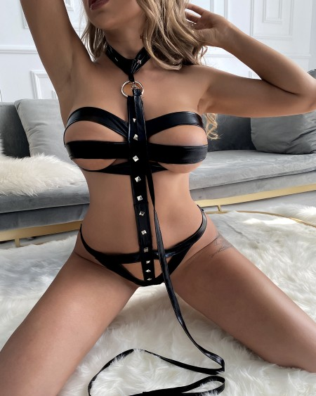 Halter Backless Strappy PU Leather Harness Teddies