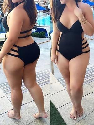 Plus Size High Waist Bandage Black Hollow Out Cut Out Monokini