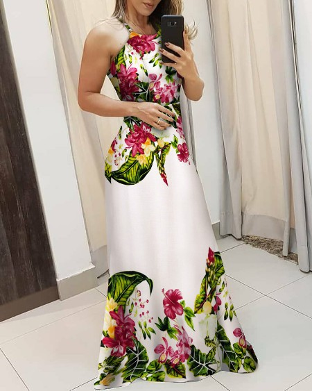 Tropical Print Spaghetti Strap Maxi Dress