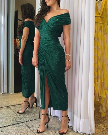 Glitter Off Shoulder Ruched Slit Dress