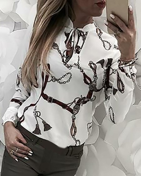 Chain Print Tied Long Sleeve Shirt