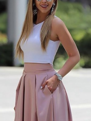 Sleeveless Cropped Top&Pleated Skirt Sets