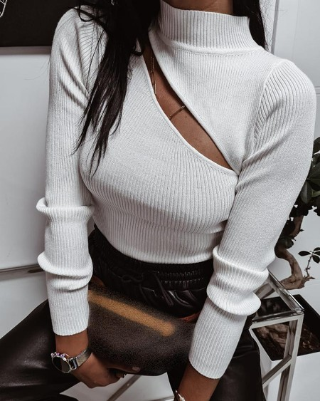 Plain Cutout High Neck Long Sleeve Sweater