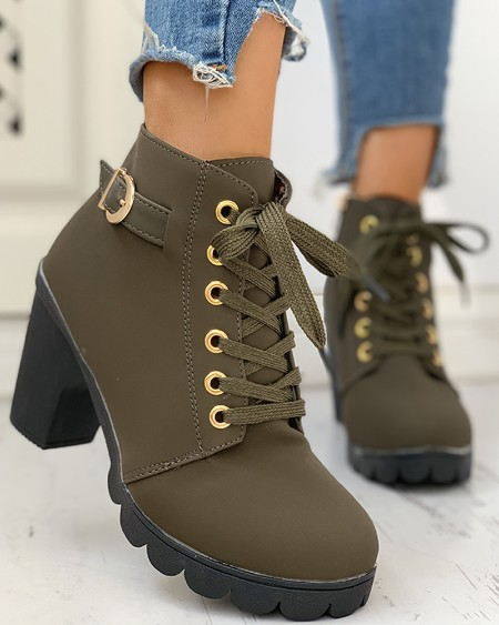 boutiquefeel / Suede Eyelet Lace-Up Buckled Chunky Heeled Ankle-Boots