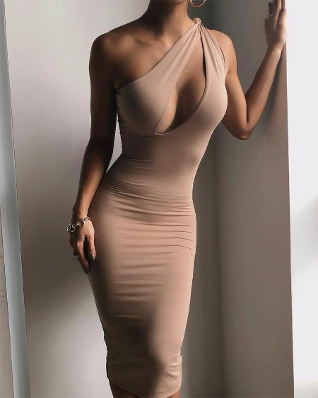Solid Color Hollow Sleeveless Skinny Dress