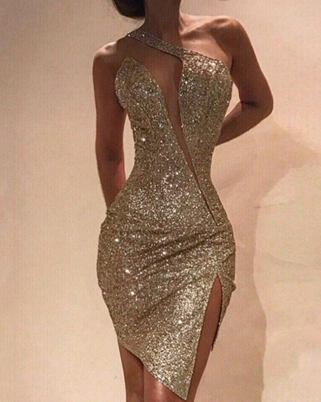 One Shoulder Cut Out Slit Bodycon Sequin Dress