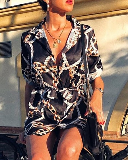 Short Sleeve Rope Print Shirt Dress