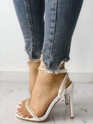 Chain Embellished Buckled Thin Heeled Sandals