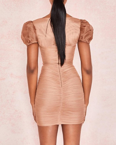 Puffed Sleeve Mesh Ruched Bodycon Dress