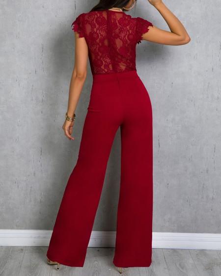 Lace Bodice Bowknot Embellished Jumpsuit