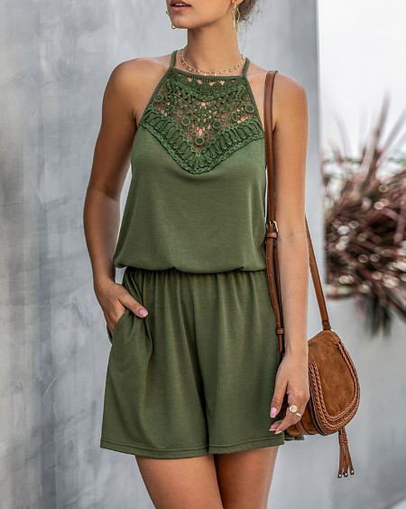 Lace Insert Sleeveless Solid Romper