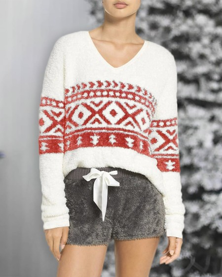 Geometry Print Fluffy Long Sleeve Sweater
