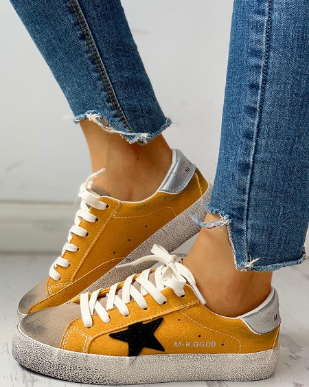 Colorblock Star Embellished Lace-up Sneakers