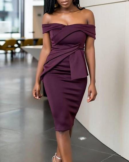 Fold Pleat Design Off Shoulder Midi Dress