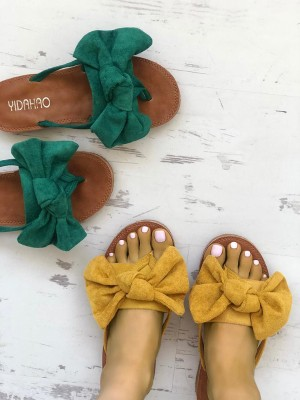 Casual Bowknot Toe Post Flat Sandals