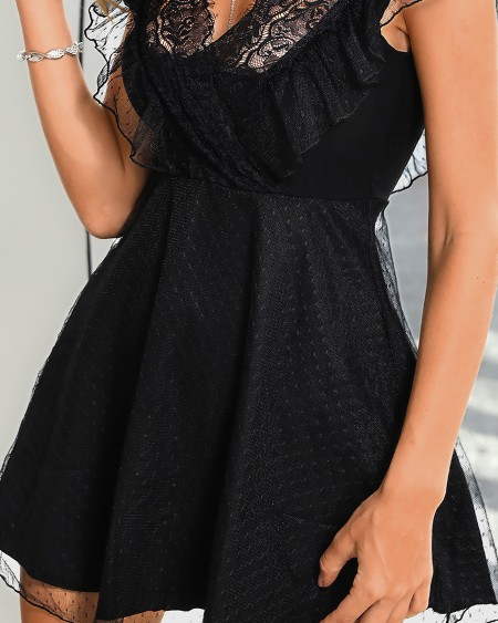 Eyelash Lace Mesh Pleated Dress